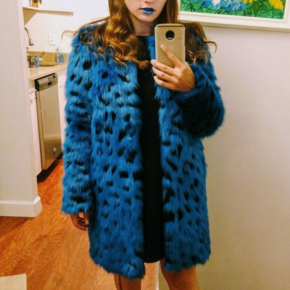 ba819eac63e5 MICHAEL Michael Kors Jackets & Coats | Michael Kors Blue Faux Fur ...
